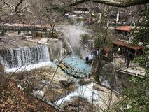 Hot natural springs at Thermes Loutraki Stock Images