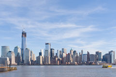 New York City Skyline. Scenic view of Lower Manhattan skyline and waterfront with One World Trade Center under construction viewed from Jersey City, NJ, USA royalty free stock photo