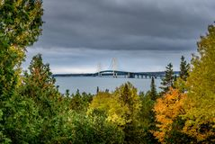 Scenic Mackinac Bridge shot from Straits State Park during the fall stock images