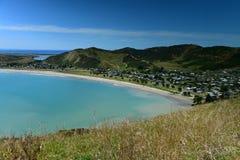 Scenic view of Mahia Bay from Mokotahi Lookout at Mahia, in New Zealand royalty free stock images