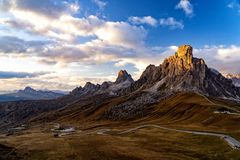 Landscape shot at the Passo di Giau, Italy. Scenic view of majestic Dolomites mountains in Italian Alps. Landscape shot at the Passo di Giau, in the the Italian royalty free stock photography
