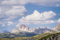 Scenic view of majestic rock formation in Italian Dolomites. Stock Images