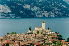 Scenic view of Malcesine on beautiful Garda lake, Italy Royalty Free Stock Image