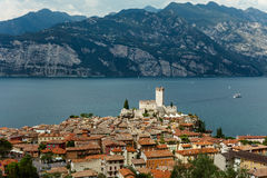 Scenic view of Malcesine on beautiful Garda lake, Italy Royalty Free Stock Photography