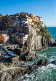 Scenic view of Manarola village and the sea in Liguria region, Cinque Terre, northern Italy on clear day. Stock Images