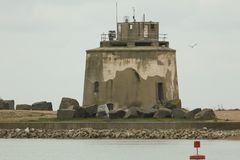 A scenic view of Martello tower no 66, North east of Langney Point, Eastbourne, UK. Stock Photo