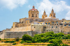Scenic view on Mdina stock photography