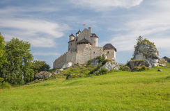 Scenic view of the medieval castle in Bobolice village. Poland Royalty Free Stock Photo