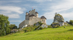Scenic view of the medieval castle in Bobolice village. Poland. View of the medieval castle in Bobolice village. Poland Stock Photo