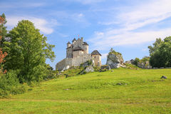 Scenic view of the medieval castle in Bobolice village. Poland Stock Photography