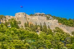 Medieval fort in Hvar, croatian sightseeing spot. royalty free stock photos