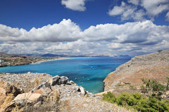 View of Mediterranean coastline from small town Lindos, Rhodes Island - Greece Stock Image