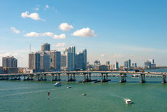 Scenic view on Miami port and bridge Stock Images