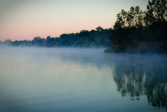 Scenic view of misty lake. Scenic view of mist over reservoir, Springfield, Ohio, U.S.A Royalty Free Stock Photos