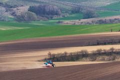 Scenic View Of Modern Farming Tractor Which Plowing Brown Field. Tractor Cultivating  Field.Small Blue Tractor With Red Drag Worki Stock Image