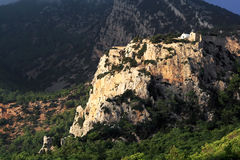 Monolithos castle in sunset light, Rhodes Island - Greece Royalty Free Stock Images