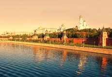 Scenic view of Moscow Kremlin and Moscow Rive stock photography