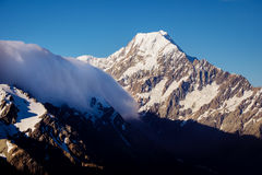 Scenic view of Mount Cook summit with dramatic clouds, NZ Royalty Free Stock Photos