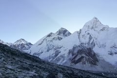 Mount Everest summit at dawn from Kala Patthar, Gorak Shep, Everest Base Camp trek, Nepal. Scenic view of Mount Everest summit at dawn from Kala Patthar, Gorak Stock Photo