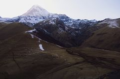 Scenic view of the Mount Kazbek. Landscape with the Mount Kazbek in the Caucasian Mountains, Georgia Royalty Free Stock Photo