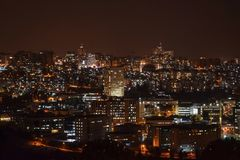 Scenic view of Jerusalem at night time. Scenic view from Mount Scopus of Jerusalem at night time royalty free stock photography