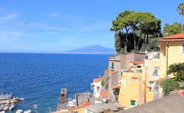 Italy Sorrento -view of Mount Vesuvius. Scenic view of Mount Vesuvius across the bay of Naples Stock Photo