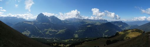 Scenic view of mountain alp in south tyrol to langkofel gruppe Royalty Free Stock Images
