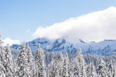 Scenic view of mountain covered with snow. Stock Photo