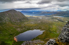 Scenic view from mountain peak in Scottish highlands Royalty Free Stock Images