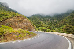 Scenic view of a mountain road in Anaga natural park in Tenerife, Canary island, Spain Royalty Free Stock Photos