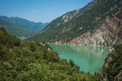 Scenic view from the mountain to Kremaston lake, Evritania, Gree Stock Photo