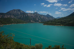 Scenic view from the mountain to Kremaston lake, Evritania, Gree Royalty Free Stock Photo