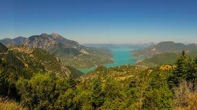 Scenic view from the mountain to Kremaston lake, Evritania, Gree Royalty Free Stock Image