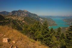 Scenic view from the mountain to Kremaston lake, Evritania, Gree Stock Images