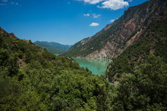 Scenic view from the mountain to Kremaston lake, Evritania, Greece Royalty Free Stock Image