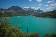 Scenic view from the mountain to Kremaston lake, Evritania, Greece Royalty Free Stock Photography