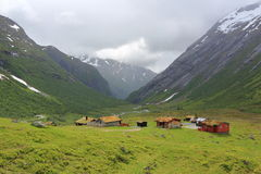 Scenic view of mountain village in Norway. Nature landscape. Stock Photo
