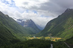 Scenic view of mountain village in Norway. Nature landscape. Royalty Free Stock Photography