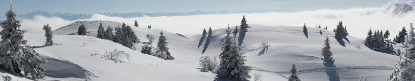 Snowy mountain panorama Stock Photos