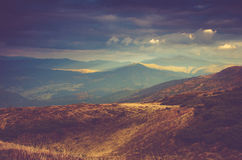 Scenic view of mountains, autumn landscape with colorful hills at sunset. Stock Image