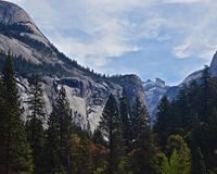 Scenic view of mountain and trees in Yosemite royalty free stock photo