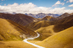 Scenic view of mountains and road at Lindis pass, NZ. Scenic view of mountains and road at Lindis pass, South island of New Zealand Stock Photos