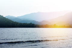 Scenic view on mountains with seascape Stock Images
