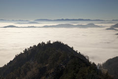 Scenic view from Mountains to foggy valleys Stock Photography