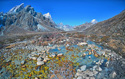 Scenic view of mountains  and valley in Sagarmatha National Park Royalty Free Stock Photos