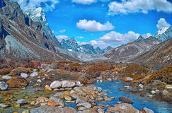 Scenic view of mountains  and valley in Sagarmatha National Park Stock Photography