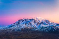 Scenic view of mt st Helens with snow covered  in winter when sunset ,Mount St. Helens National Volcanic Monument,Washington,usa. Royalty Free Stock Photos