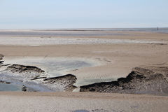 Scenic View of Mud at Morecombe Bay. View of Mud at Morecombe Bay Cumbria Stock Photo