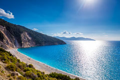 Scenic view of Myrtos beach , Kefalonia. Scenic view of Myrtos beach, the most famous beach on the Greek island of Kefalonia Royalty Free Stock Images