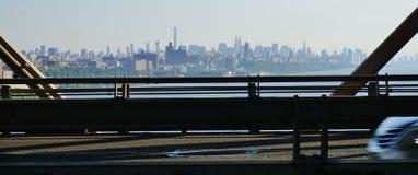 Scenic view of the New York Manhattan skyline seen from  the George Washington Bridge (GWB) Stock Photos
